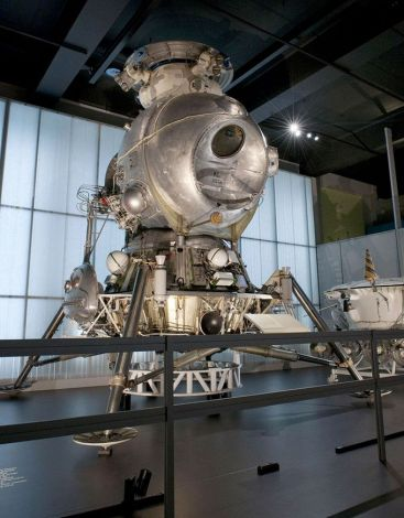The most complete example of a Soviet-era LK Lunar Lander, currently on display at the Science Museum in London