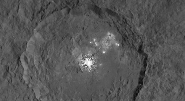 A mosaic of images taken by the Dawn spacecraft Occator crater during several orbits, showing the crater in detail, complete with the enigmatic bright spots (image: NASA/JPL-Caltech/UCLA/MPS/DLR/IDA)