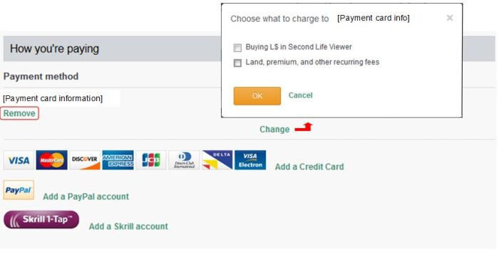 To update / re-use card information filed with the Lab, you will need to Remove the existing card details first, add (or re-add, if using the same card) details of your card, and then make sure you select the payment options for which the card is to me used by clicking the Change link and checking the option(s) you wish to use