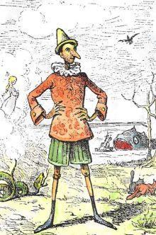 An 1883 illustration from the original Le avventure di Pinocchio, drawn by Enrico Mazzanti and coloured by Daniel Donna