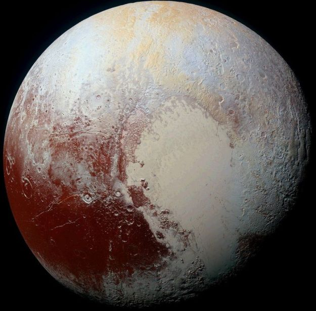 A colour image of Pluto produced by combining blue, red and infra-red images taken by the Ralph/Multispectral Visual Imaging Camera (MVIC) shows the rich range of subtle colours evidence across the planet and reveals details as small as 1.3 km (0.8 mi) across