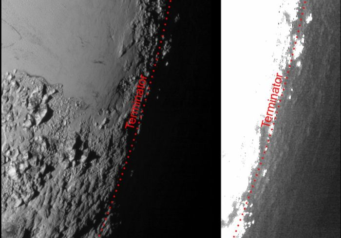 How Pluto's atmosphere help reveal surface details: On the left is an image captured by New Horizons showing the terminator between the day and night sides of the planet under normal lighting by the Sun. On the right, is the same image, but processed at a higher contrast, allowing sunlight refracted in the atmospheric haze to illuminate surface details otherwise hidden by the darkness of Pluto's night