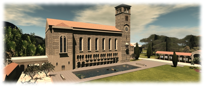 UWA's Winthrop Clock Tower & Reflection Pond as reproduced in Second Life and a landmark frequenctly featured in UWA machinima contest entries