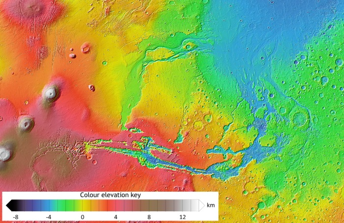 A Mars Orbiter Laser Altimeter (MOLA) topographic map showing the Vallis Marineris, with its associated outflow channels leading to the low-lying flood plain features to the north(image credit: NASA / JPL / Arizona State University)