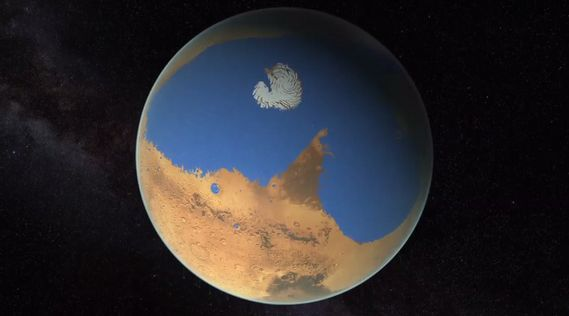 An artist's impression of what a wet Mars may have looked like, based on the ratio of deuterium contained within the Martian polar caps