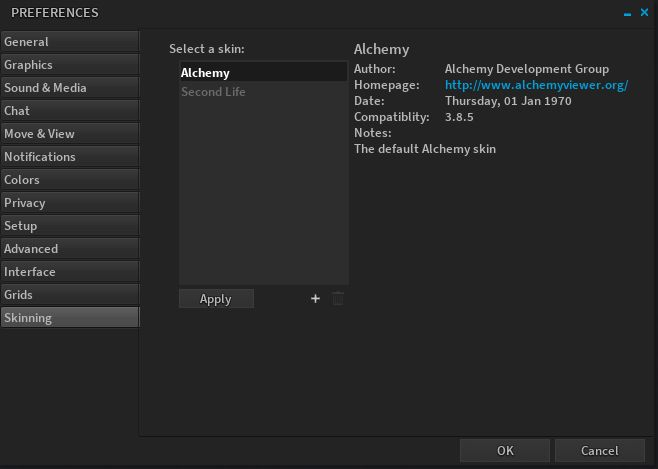 The Skinning option, new with Alchemy 3.8.5 allows the use of custom UI skins with the viewer