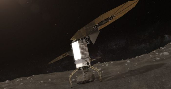 An artist's impression of the ARRM robot vehicle collecting a sample of asteroid rock