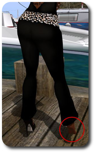 A problem I sometimes encounter when flying / boating is returning home and finding one of my scripted mesh shoes has been detached at some point during the trip