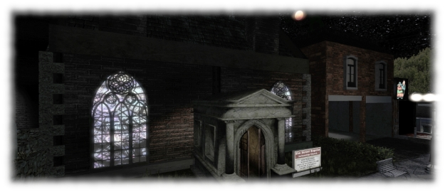 A Blood Moon hangs over Elm Street Baptist Fellowship, Carver's End (Paster: F. Krueger?)