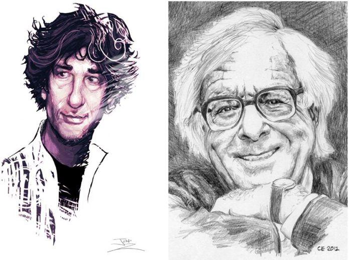 "Neil Gaiman (via Deviant Art) and Rad Bradubry via ""CE"","