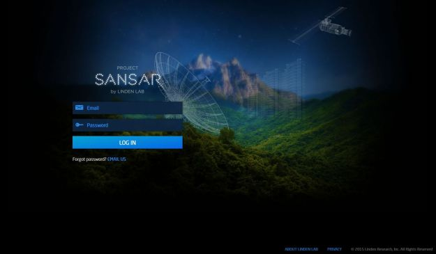 "The ""Project Sansar"" log-in screen: said to use"
