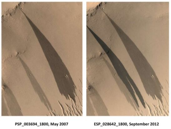 Two images studied by Ojha showing the flank of the same crater and showing what appear to be active RSLs.