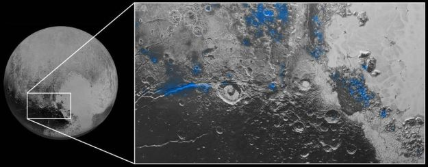 Instruments forming the Ralph suite aboard New Horizons have identified regions of exposed water ice on Pluto which occur in regions which have corresponding deposits of tholins. Quite what the relationship is between the two is unclear. The water ice deposits are shown in blue on the inset image simply for convience, and not because that's how they appear on Pluto