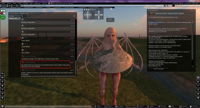 Firestorm 4.4.2 users may find themselves with a boulder through their avatars as a result of the simulator code deployed to the RC channels this week. The issue will not affect Firestorm versions from 4.6.9 onwards (image courtesy of Whirly Fizzle)