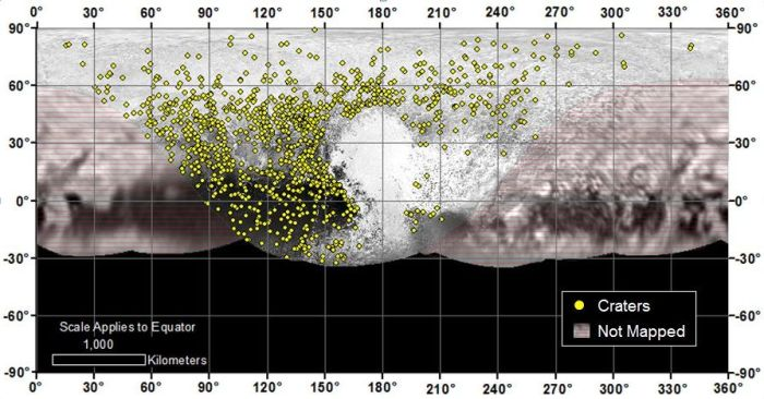 Locations of more than 1,000 craters mapped on Pluto by NASA's New Horizons mission indicate a wide range of surface ages, which likely means that Pluto has been geologically active throughout its history (image: NASA / JHU APL / SwRI)
