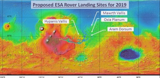 The four proposed landing sites for ExoMars Rover. The colours on the map represent the relative elevations of surface features on Mars. White / Red refer to the highest elevation, such as the Tharsis Bulge and the great volcanoes to the north-west, and blue the low-lying regions, such as the far northern latitudes and the great impact basin of Hellas in the south-east, which likely caused the Tharsis Bulge upwelling