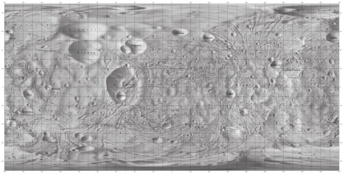 A Mercator map of Phobos showing the compex system of groves and potential lines of fracture across the little moon. Some of these, notably those located close to it, are thought to be the result of the impact which created Stickney crater (left of centre in the map); however most of them seem to be the first indications that Phobos is starting to slowly break-up
