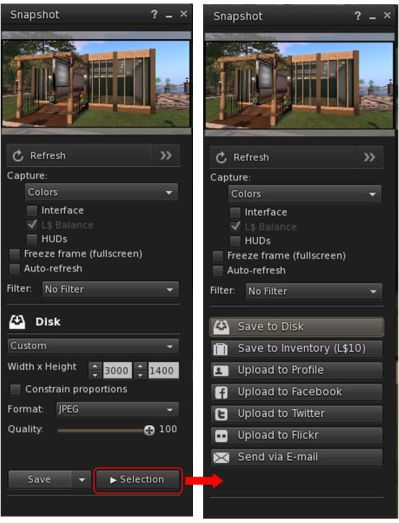 The snapshot floater see the Cancel button renamed Selection to better reflect its function in