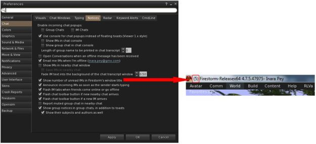 Firestorm 4.7.5 allows you to display the number of unread IMs you've received in the viewer's title bar area