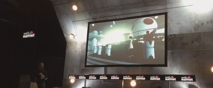 "Ebbe Altberg presents a short video featuring footage shot from inside ""Project Sansar"" at the Dublin Web Summit 2015 (image via )"