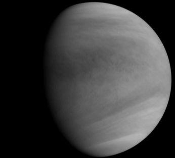 An ultra-violet image of Venus, returned by Akatsuki shortly after achieving its initial orbit around the planet, and having passed through periapis, already heading away from the planet
