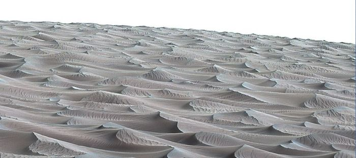 "The rippled surface of the first Martian sand dune ever studied up close. Captured by Curiosity's Mastcam on November 27th, 2015 (Sol 1,176 on Mars), the view is looking up the curved slope of ""High Dune"", revealing a rippled surface of sand sculpted by the wind. The Bagnold dunes"" are ""active"", in that they are migrating down the slope of ""Mount Sharp"" at the rate of around one metre (39 inches) a year. The dunes are active, migrating up to about one yard or meter a year."