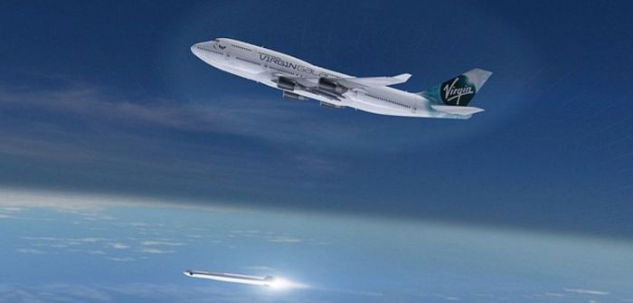An artist's impression of Cosmic Girl, as it is expected to look in its Virgin Galactic livery, having just released a LauncherOne vehicle