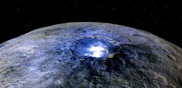 A false-colour representation Occator Crater on Ceres reveals the short wavelength of the bright deposits in the crater, pointing to them being salts. Occator measures about 90 km (60 miles) across