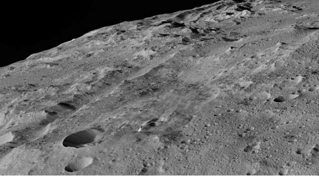 A broad trough running along the region of Ceres known as Gerber Catena, which may be indicative of tectonic activity on Ceres