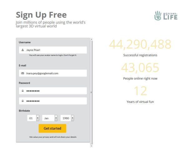 The sign-up form