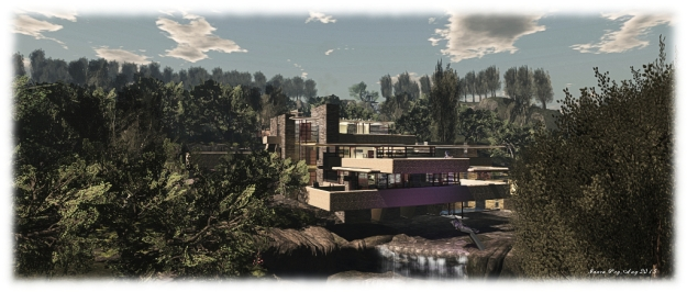 2015 saw me invited to build a full sim installation at the LEA in which to display my SL images. I opted to recreate my interpretation of Fallingwater, the famous Kaufmann residence, now under the care and ownership of the Western Pennsylvania Conservancy