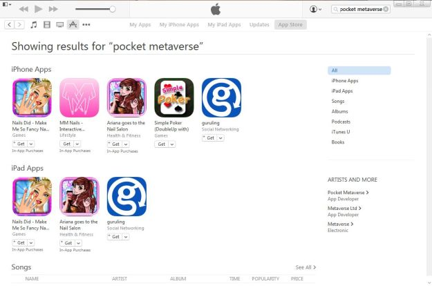 Search of the App Store on iTunes fail to yield any sign of Pocket Metaverse, which vanished from the store during November 2015
