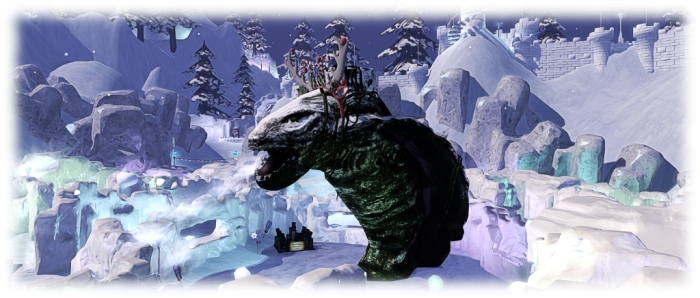 Winter Wonderland: the snowball fight arena includes a snowball-pelting monster...