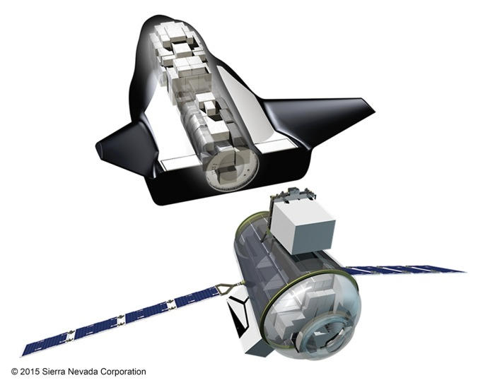 The Drem Chaser Cargo, bult by SNC, and the International Berth and Docking Mechanism, to be supplied to SNC for Dream Chaser flights by the European Space Agency