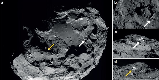 Images of Comet 67P/Churyumov-Gerasimenko captured by the Rosetta spacecraft's navigation camera, showing two patches of exposed water ice (which are seen close up in images C and D).