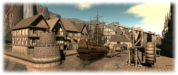 The docks at Morphe Northwids, feature one of Lia woodget's Blackspot ships