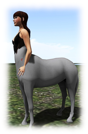 Aki Shichiroji demonstrates her (untextured and in-development) centaur avatar, which uses the new wing bones to animate the rear legs