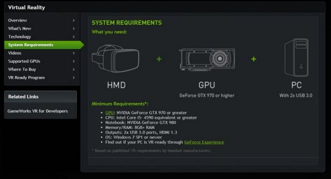 "Nvidia plan a ""GeForce GTX VR Ready"" logo for computer systems capable of meeting tethered VR requirements, and will be offering Nvidia has set out specific minimum requirements that must be met in order for consumer PCs to be able to cope with virtual reality graphics"