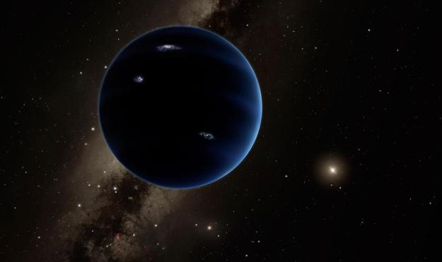 Planet X, if it exists,could equal Neptune in size, and orbits the Sun 200 times further away than Earth. Credit: Caltech / R. Hurt