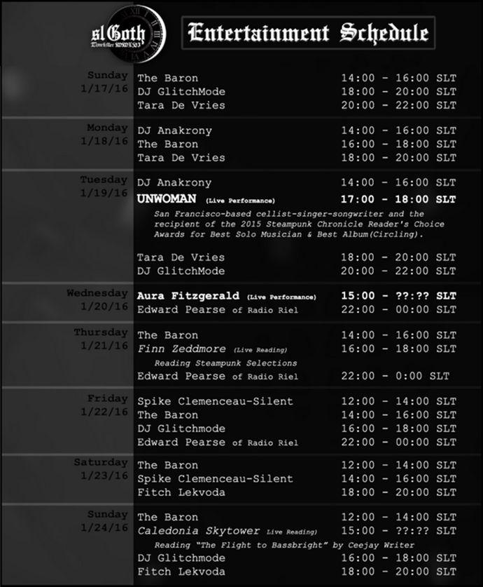 The timekiller II schedule of events