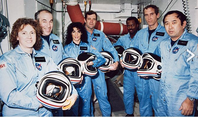 "The Challenger 7: (l-to-r) Sharon Christa McAuliffe, Gregory Jarvis, Judith Resnik, Francis ""Dick"" Scobee, Ronald McNair, Michael Smith and Elison Onizuka, during a countdown training exercise on January 9th, 1986"