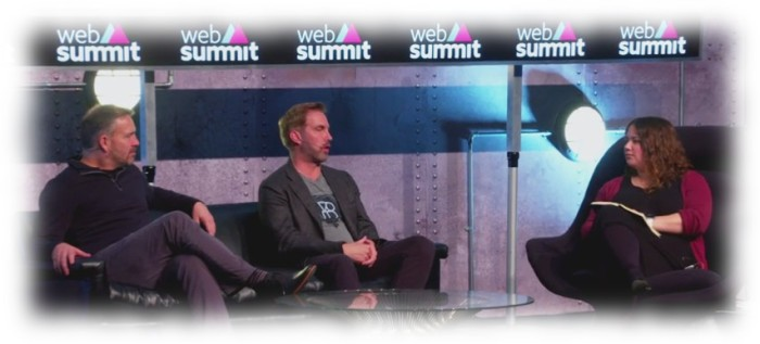 Ebbe Latberg (l) with Ken Bretschneider and Sophie Charara at the December 2015 Web Summit, Dublin