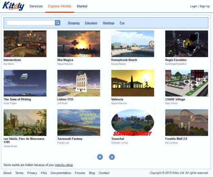 Kitely already offer users an associated web page for their world, which can additional be displayed in the Kitely world directory. LL to offer similar experience web pages to Sansar users (image: kitely.com)