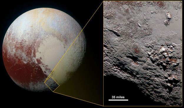 """""""Wright Mons"""" (the large dimple in the image on the right) and as seen in context with the rest of Pluto, may be one of two enormous cryovolcanoes on the tiny world (image: NASA/JPL / JHU/APL / SwRI)"""