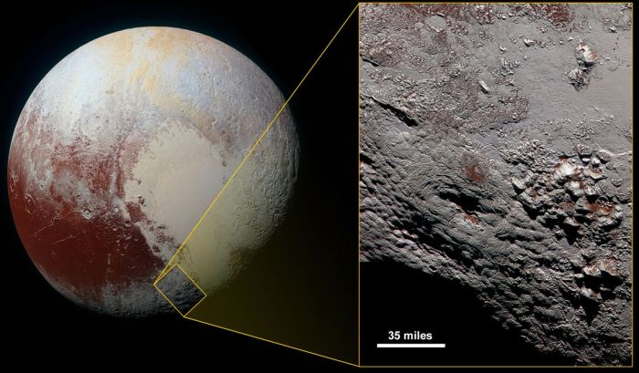 """Wright Mons"" (the large dimple in the image on the right) and as seen in context with the rest of Pluto, may be one of two enormous cryovolcanoes on the tiny world (image: NASA/JPL / JHU/APL / SwRI)"