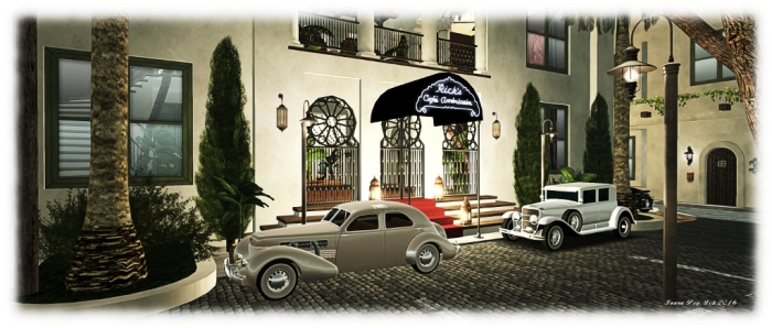 """Casabalanca: Rick's Café Américain - """"Of all the gin joints, in all the towns, in all the world, she walks into mine."""""""
