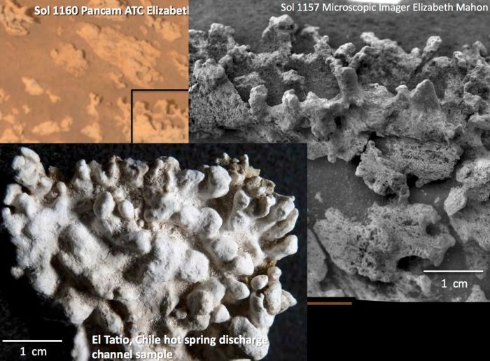 A comparison between images of the formations found on Mars by the MER Spirit (top right), and those images by Ruff and Foster in El titio, Atacama Desert