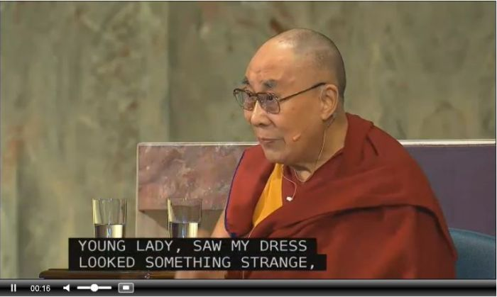 The Dalai Lama at the chapel of Saint Marys Hospital, Rochester, Minnesota, where he addressed Mayo Clinic staff (via event livestream)