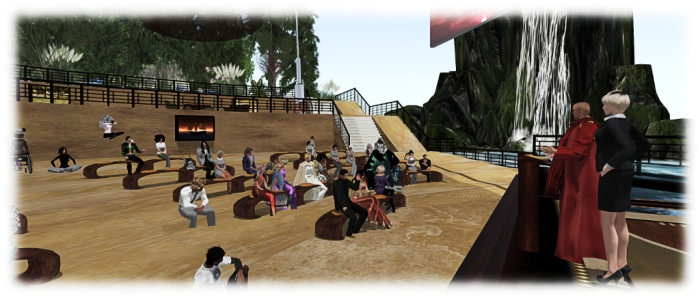 "The Dalai Lama ""addresses"" the audience in Second Life"