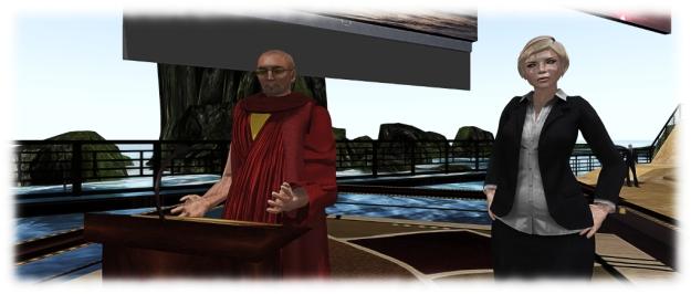 Avatars representing the Dalai Lama and TV Radio personality Cathy W
